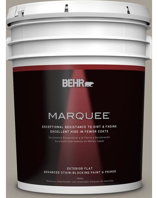 BEHR MARQUEE 5 gal. #PPU24-09 True Taupewood Flat Exterior Paint and Primer in One
