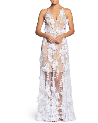 Women's Dress The Population Sidney Deep V-Neck 3D Lace Gown, Size X-Small - White