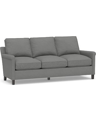 """Tyler Roll Arm Upholstered Sofa 78"""" without Nailheads, Down Blend Wrapped Cushions, Basketweave Slub Charcoal"""