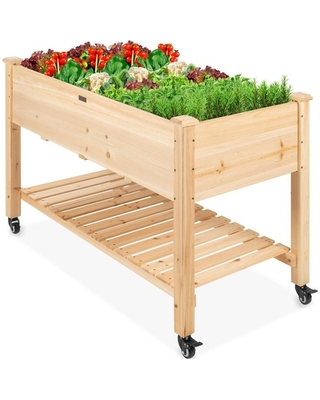 """Solid Wood Locking Wheels Raised Mobile Garden Wood Planter Elevated Planter - Natural - 48""""(L) x 23.25""""(W) x 32""""(H) (Natural)"""