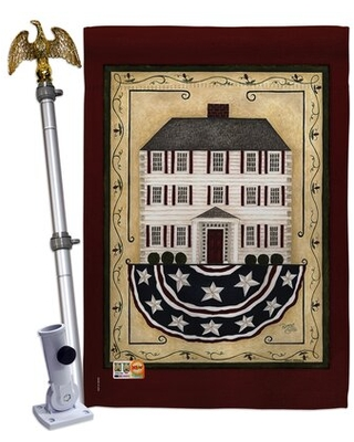 """Patriotic House 2-Sided Polyester 40"""" H x 28"""" W Flag set Breeze Decor"""