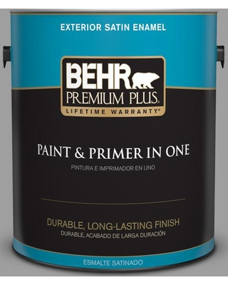 BEHR Premium Plus 1 gal. #PPU26-06 Elemental Gray Satin Enamel Exterior Paint and Primer in One