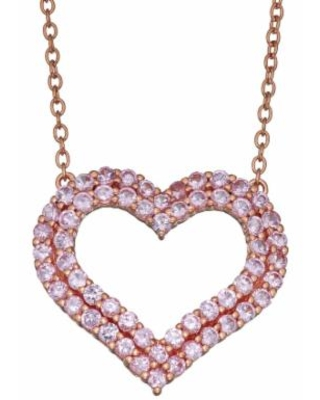 """Rose Gold Over Sterling Silver Lab Created Pink Sapphire Heart Necklace, Women's, Size: 18"""""