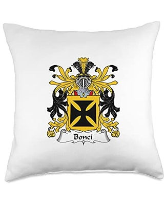 Family Crest and Coat of Arms clothes and gifts Bonci Coat of Arms - Family Crest Throw Pillow, 18x18, Multicolor