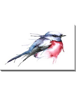 """'Watercolor Bird' Watercolor Painting Print on Wrapped Canvas Charlton Home Size: 24"""" H x 40"""" W x 1.5"""" D"""