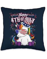 Unicorn Fourth of July - USA Independence Unicorn - Happy 4th of July Throw Pillow, 16x16, Multicolor