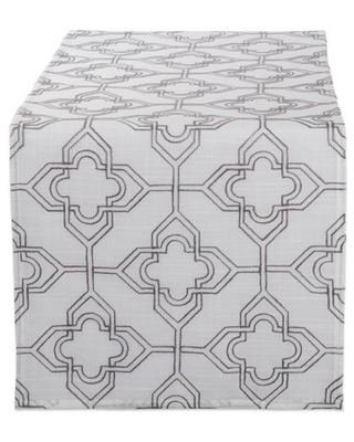 DII Off White Base Embroidered Lattice Table Runner