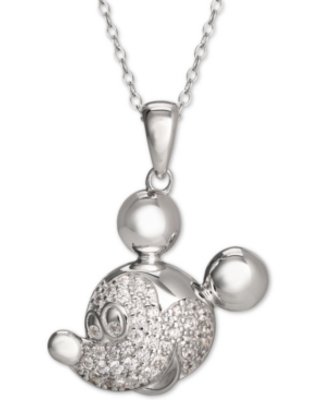"Disney Cubic Zirconia Pave Mickey Mouse 18"" Pendant Necklace in Sterling Silver"