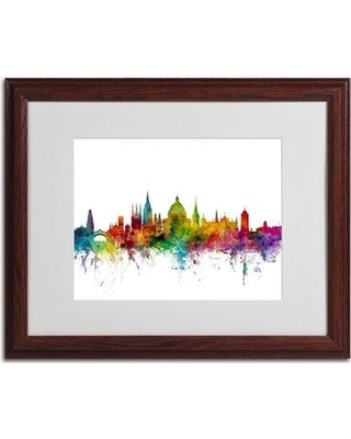 "Trademark Art 'Oxford England Skyline II' by Michael Tompsett Framed Graphic Art MT0471-B1114MF / MT0471-B1620MF Size: 16"" H x 20"" W Frame Color: Brown"