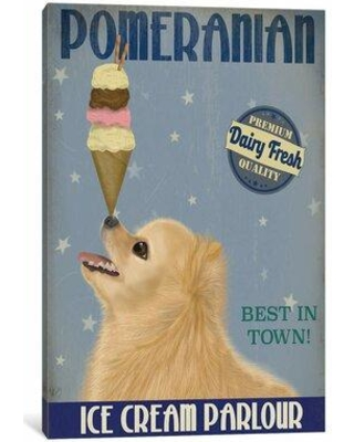"""East Urban Home Fab Funky 'Pomeranian Ice Cream' Print on Wrapped Canvas EBIC3567 Size: 40"""" H x 26"""" W x 0.75"""" D"""