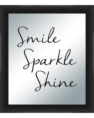 PTM Images Smile Sparkle Shine Silkscreened Mirror Framed Textual Art 5-1145