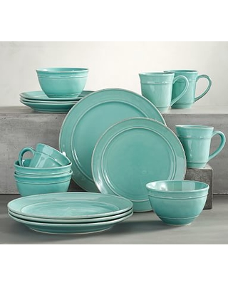 "Cambria Dinnerware, 11 3/4"" Dinner Plate 16-Piece Cereal Bowl Set, Turquoise"