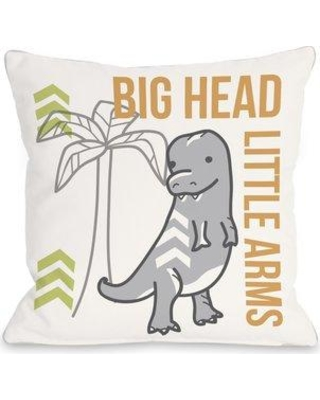 "One Bella Casa Big Head Little Arms Dino Throw Pillow 72499PL16 / 72499PL18 Size: 18"" H x 18"" W x 3"" D"