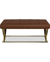 James Large Ottoman, Brass, Tuscan Leather, Solid, Bourbon