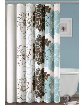 HipStyle Blue Printed Shower Curtain