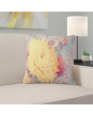 """East Urban Home Flower Aster with Watercolor Splashes Pillow VCBN9472 Size: 16"""" x 16"""" Product Type: Throw Pillow"""