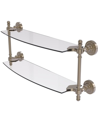 Allied Brass Retro Dot Collection 18 in. 2-Tiered Glass Shelf in Antique Pewter