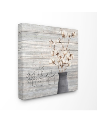 """30 in. x 30 in. """"Grey Gather Together Cotton Flowers in Vase"""" by Kimberly Allen Canvas Wall Art, Multi-Colored"""