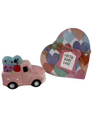 AGD Valentines Decor - Chunky Heart and Ceramic Light Up Truck 2pc