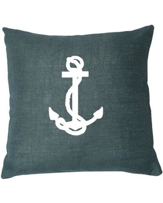 """LG Designs Ancre Throw Pillow, Jute in Navy/White, Size 20X20"""" 