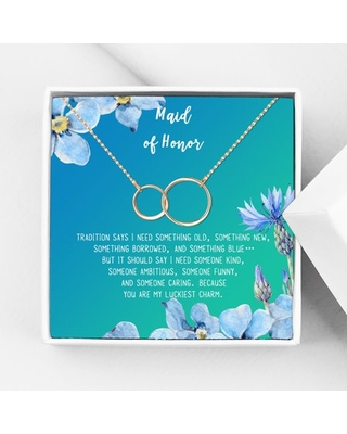 Anavia Maid of Honor Necklace Gift, Maid of Honor Sister Gift, Maid Of Honor Card for Girls, Wedding Gifts Jewelry Necklace-[Rose Gold Infinity Double Ring, Bright Blue Gift Card]