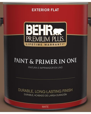 BEHR Premium Plus 1 gal. #250F-7 Melted Chocolate Flat Exterior Paint and Primer in One
