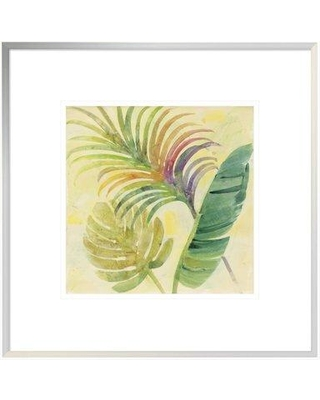 """East Urban Home 'Tropical Delight I' Print EUHE2138 Size: 17.6"""" H x 17.6"""" W Format: White Framed Canvas Matte Color: White"""
