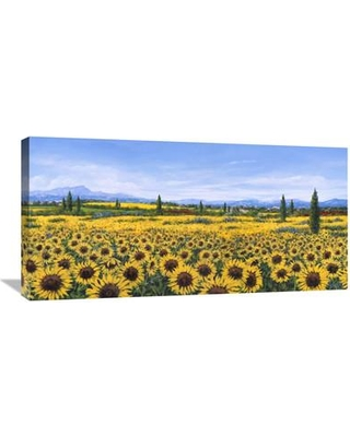 """Global Gallery 'Girasoli' by Tebo Marzari Painting Print on Wrapped Canvas GCS-456489-1224-142 / GCS-456489-1836-142 Size: 18"""" H x 36"""" W x 1.5"""" D"""