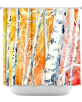 DiaNocheDesigns Falling for Colour Birch Trees Shower Curtain SHO-BrazenDesignStudioFallingForColourBirchTrees