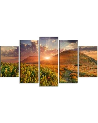 Design Art 'Colorful Fall Landscape in Mountains' 5 Piece Photographic Print on Wrapped Canvas Set, Canvas & Fabric in Brown/Green   Wayfair