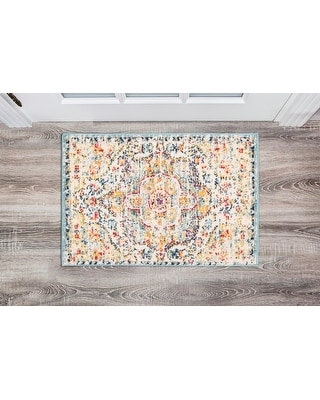 The Curated Nomad Sunset Distressed Vintage Bohemian Rug (2'x3' - Blue)