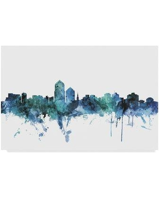 """Wrought Studio 'Albuquerque New Mexico Blue Teal Skyline' Graphic Art Print on Wrapped Canvas W001211953 Size: 12"""" H x 19"""" W x 2"""" D"""