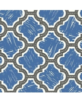"""Canora Grey Merseles Racetrack Ogee 32.81' L x 20.5"""" W Wallpaper Roll X113640791 Color: Charcoal/Royal Blue"""