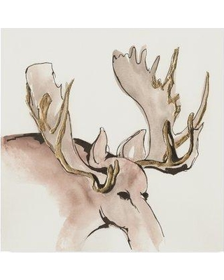 """Millwood Pines 'Gilded Moose' Acrylic Painting Print on Wrapped Canvas MLWP4671 Size: 18"""" H x 18"""" W x 2"""" D"""