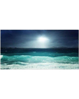"""East Urban Home 'Green Ocean Waves Under Dark Sky' Graphic Art Print on Wrapped Canvas ETUC2371 Size: 16"""" H x 32"""" W x 1"""" D"""