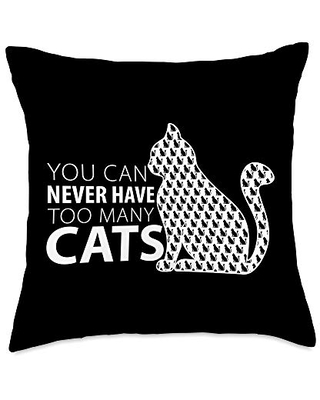 Funny Cat t-shirtLustiges Katzent-shirt You Can Never Have to Many Cats Throw Pillow, 18x18, Multicolor