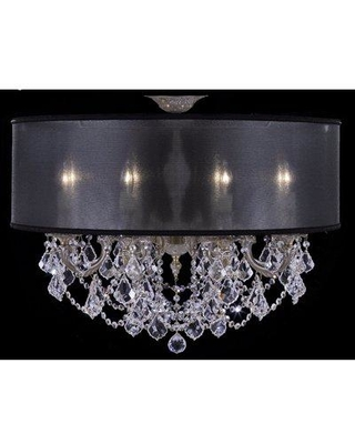 """Rosdorf Park Duncombe 8 - Light 28"""" Chandelier Style Drum Semi Flush Mount X112379703 Finish: Polished Brass with Black Inlay Shade Color: Sate Softback Crystal: Precision Crystal Oval Clear"""
