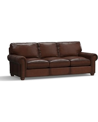 """Webster Roll Arm Leather Grand Sofa 94.5"""" with Bronze Nailheads, Down Blend Wrapped Cushions, Leather Burnished Walnut"""