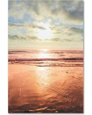 "Trademark Fine Art ""Sunset Beach Reflections II"" by Ariane Moshayedi Photographic Print on Wrapped Canvas AM0176-C1219GG"