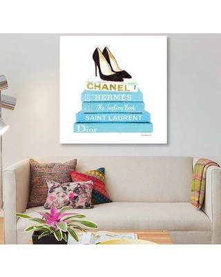 """East Urban Home 'Stack of Teal Fashion Books with Shoes' Graphic Art Print on Canvas UBHM8957 Size: 12"""" H x 12"""" W x 1.5"""" D"""