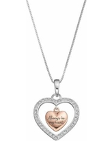 """Timeless Sterling Silver Two Tone Crystal """"Sisters"""" Heart Pendant, Women's"""