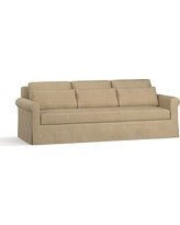 "York Roll Arm Slipcovered Deep Seat Grand Sofa 98"" with Bench Cushion, Down Blend Wrapped Cushions, Performance Everydaysuede(TM) Light Wheat"