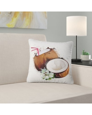 """Floral Coconuts with Straw Watercolor Pillow East Urban Home Size: 18"""" x 18"""", Product Type: Throw Pillow"""