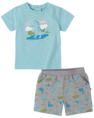 absorba Baby Boys Sleeves T-Shirt and Shorts, Azurine/Grey Heather, 0-3 Months