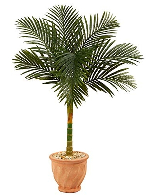 4.5ft. Golden Cane Artificial Palm Tree in Terracotta Planter