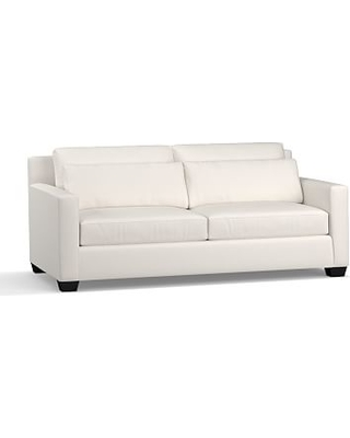 """York Square Arm Upholstered Deep Seat Sofa 79"""", Down Blend Wrapped Cushions, Performance Everydaylinen(TM) by Crypton(R) Home Ivory"""