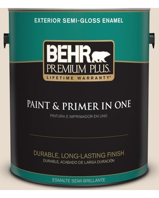 BEHR Premium Plus 1 gal. #OR-W11 White Mocha Semi-Gloss Enamel Exterior Paint and Primer in One