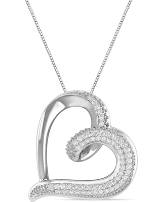 Jared The Galleria Of Jewelry Diamond Heart Necklace 1/20 ct tw Round Sterling Silver