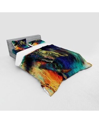 Grungy Futuristic of Foreman Bull with Motley Effect Duvet Cover Set East Urban Home Size: Queen Duvet Cover + 3 Additional Pieces