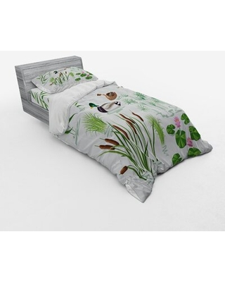 Lake Animals and Plants with Lily Flowers Reeds Cane in the Pond Nature Park Duvet Cover Set